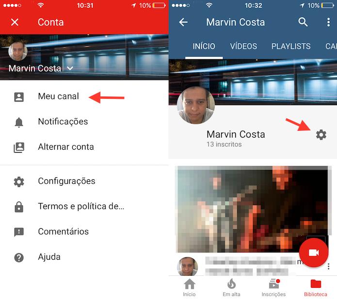 Acesso para as configurações de um canal do YouTube pelo celular (Foto: Reprodução/Marvin Costa)