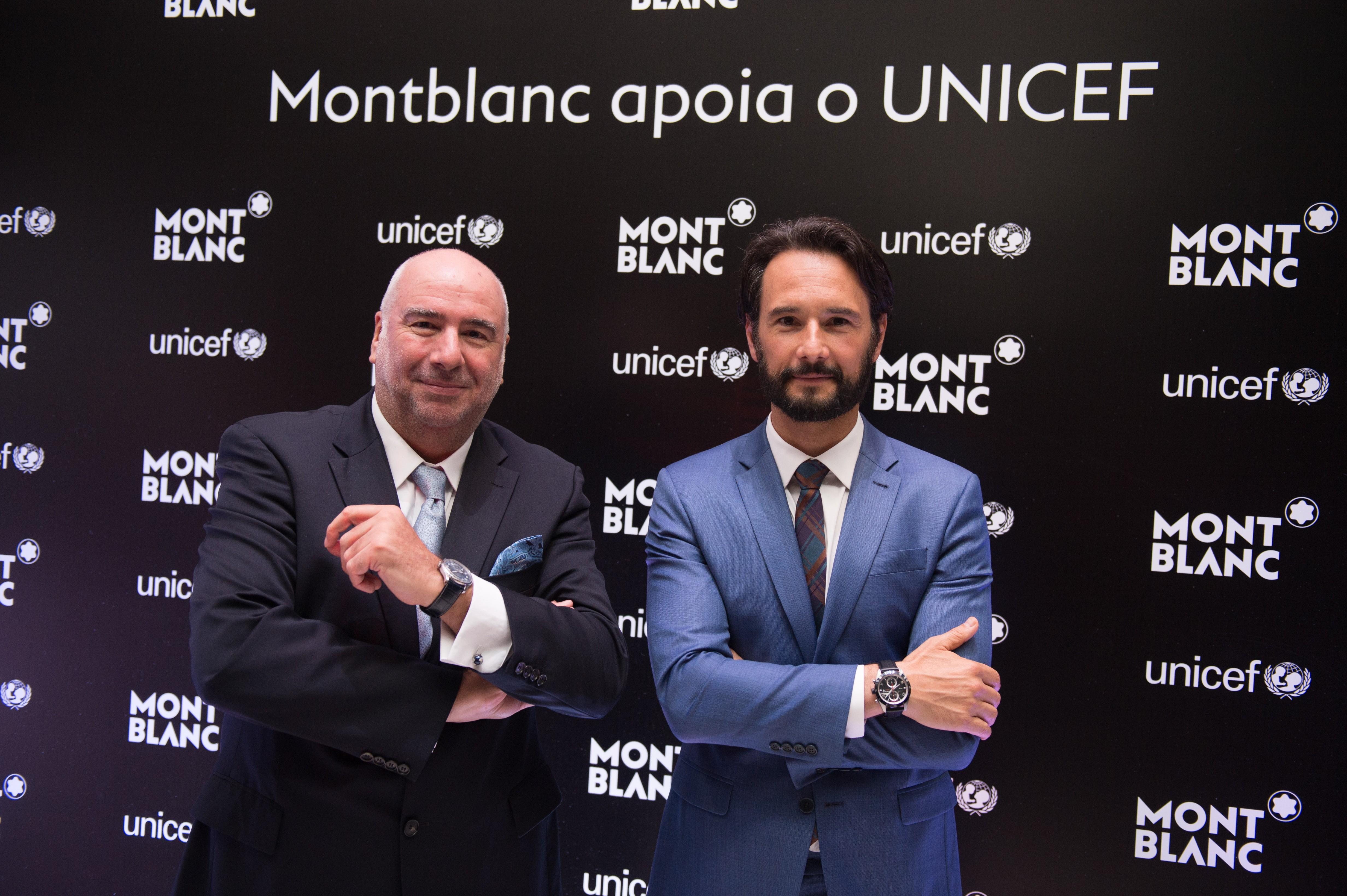 Entre os presentes no evento estavam o embaixador da Montblanc no Brasil Rodrigo Santoro e o diretor geral da marca no Brasil, Alain dos Santos (Foto: Divulgação)