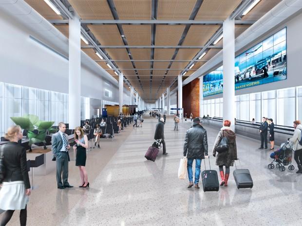 Saguão do Terminal 2 vai duplicar atendimento do Aeroporto de Confins (Foto: Divulgação / BH Airport)