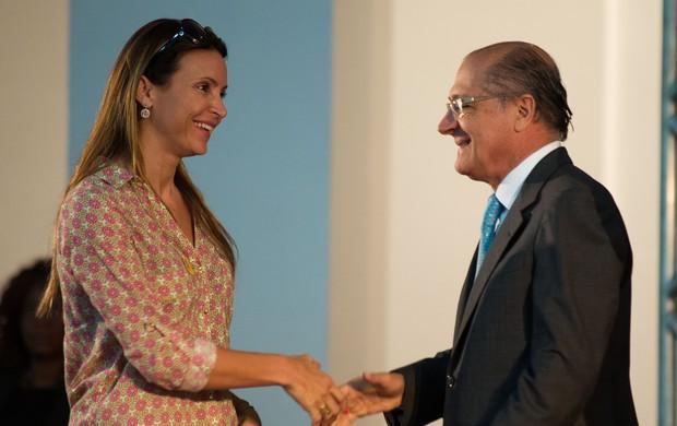 Alckmin Maurren Maggi evento São Paulo (Foto: Mauricio Rummens / Governo do Estado SP)