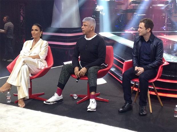 Ivete Sangalo, Carlinhos Brown e Tiago Leifert (Foto: Ed. Globo)