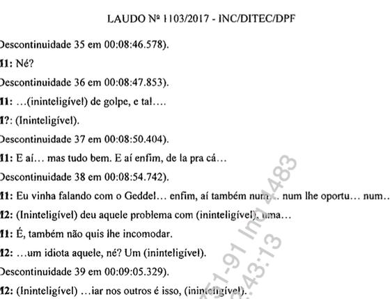 Trecho da transcrição do diálogo entre Joesley Batista (M1) e Michel Temer (M2) (Foto: Reprodução)
