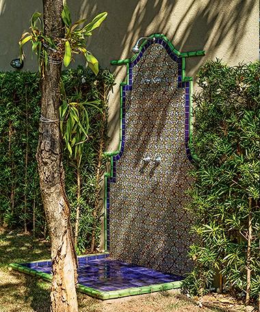 Fundos | O tronco do outro jasmim-manga serve de apoio para orquídeas. Logo atrás, o chuveirão feito de ladrilho hidráulico (Foto: Edu Castello)