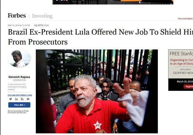 Forbes diz que Dilma ofereceu cargo a Lula em esforço para protegê-lo da investigação da operação Lava Jato (Foto: Reprodução/Forbes)
