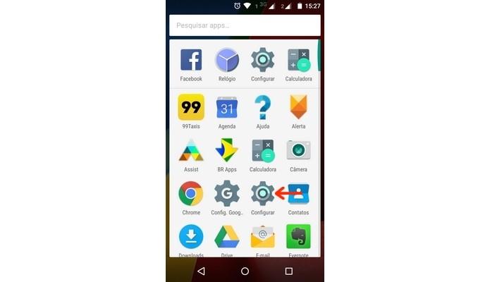 Menu de configurações do Android em destaque (Foto: Reprodução/Raquel Freire)