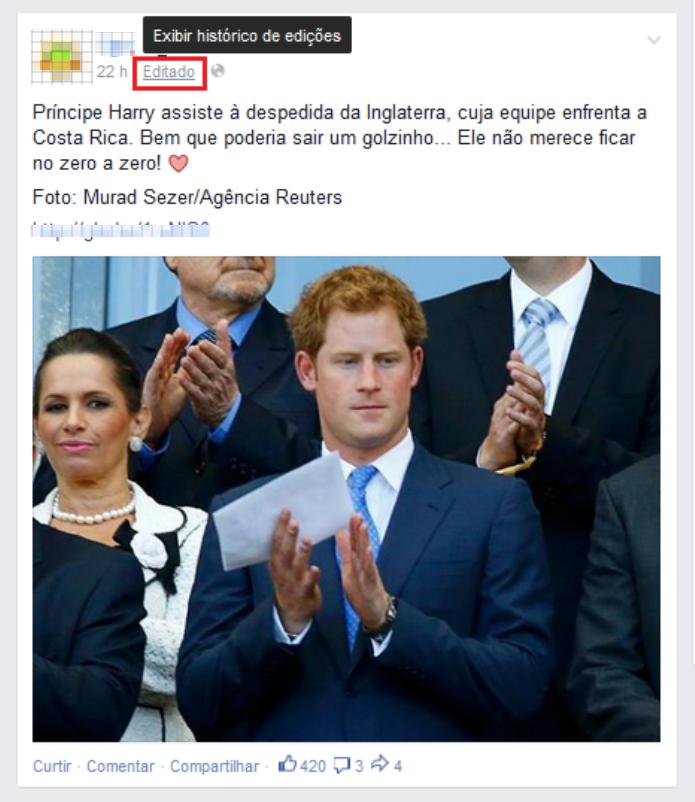 Acessando o histórico de edições do post no Facebook (Foto: Reprodução/Lívia Dâmaso)