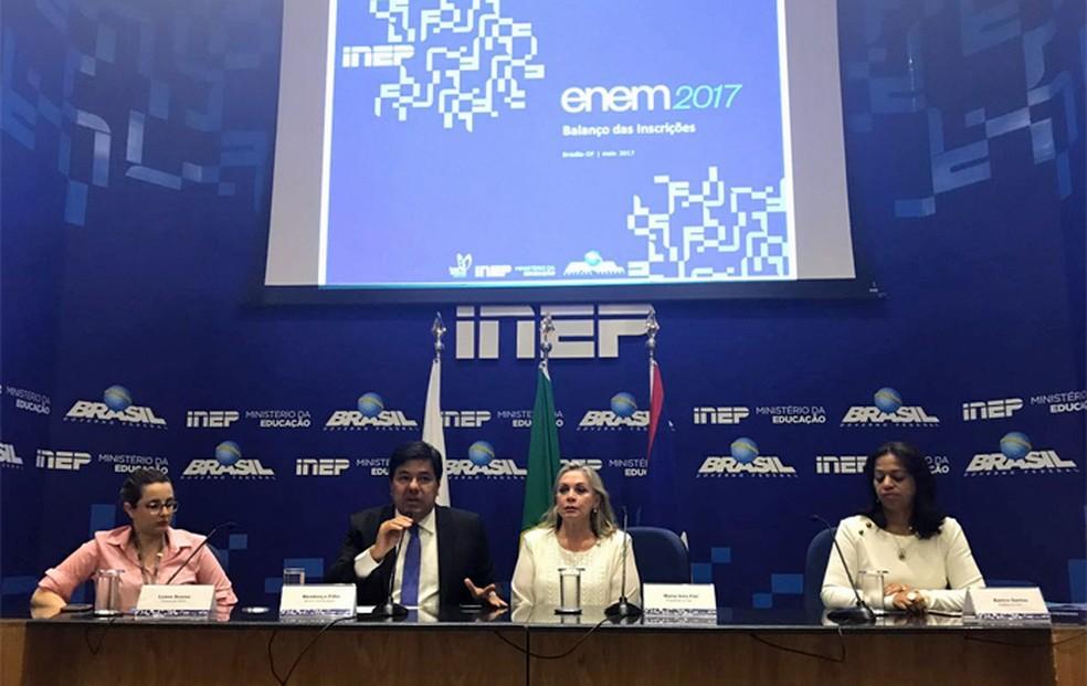 Coletiva de imprensa do Inep sobre o Enem 2017 nesta terça-feira (30) (Foto: Letícia Carvalho/G1)