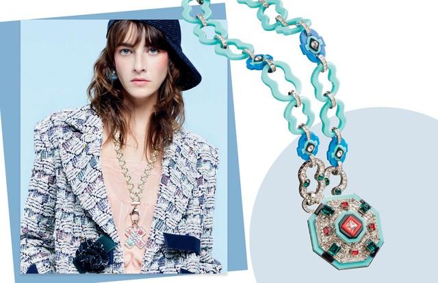 À esquerda: colar (a partir de R$ 13 mil) do verão 2017 da Chanel, ao lado, Prada R$ 6.840  (Foto: Divulgação)