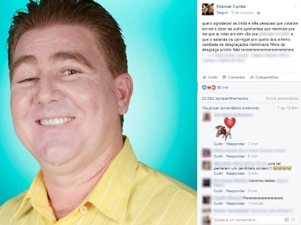 Candidato a verador fica revoltado após perder eleições em Bela Vista de Goiás (Foto: Reprodução/Facebook)