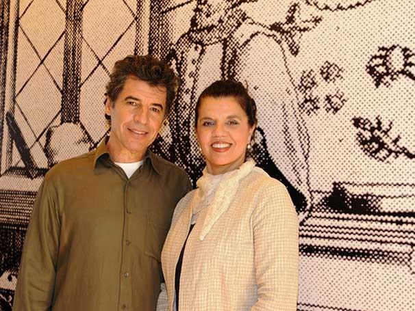 Paulo Betti e a coordenadora do ciclo de leituras, a atriz e diretora Marcia do Valle  (Foto: Guga Melgar)