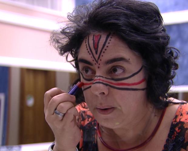 Mariza rosto pintado  (Foto: BBB / TV Globo)