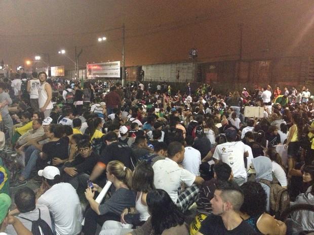 Manifestantes se sentaram para ajudar o trabalho da polícia em Santos (Foto: André Sermarini / Arquivo Pessoal)