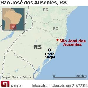 Mapa de São José dos Ausentes, no RS (Foto: Arte/G1)