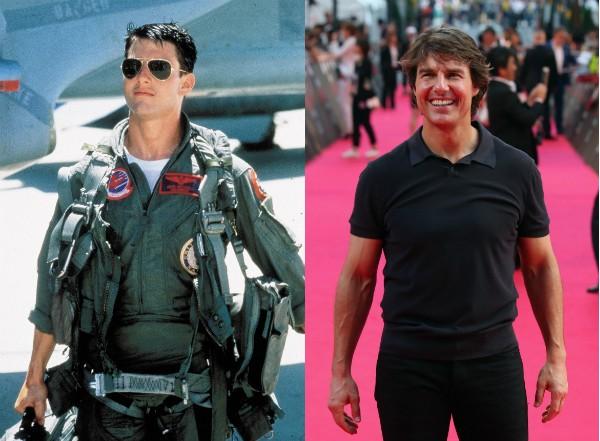 Tom Cruise aos 23 anos em 'Top Gun' e aos 53 hoje em dia (Foto: Getty Images/Divulgação)