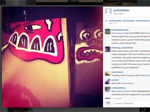 Justin Bieber publicou uma foto na terça (26) de grafite durante sua passagem pela Austrália (Foto: Reprodução/Twitter)