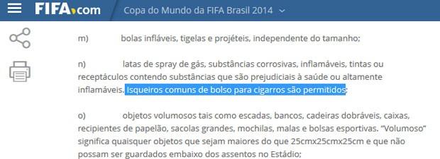 Código da Fifa veta bolas infláveis, mas diz que isqueiros para cigarros são permitidos (Foto: Reprodução)