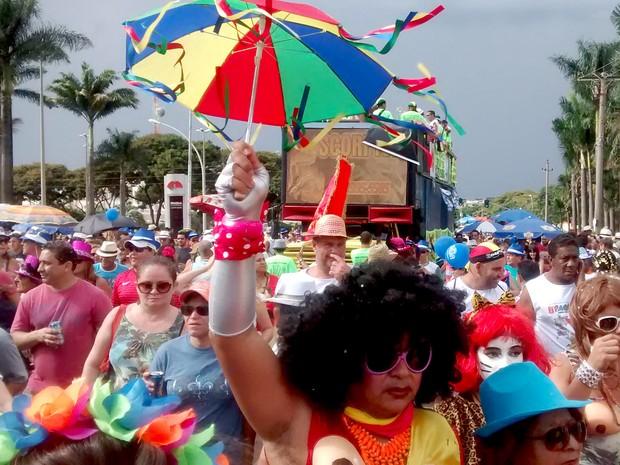 Foliões durante desfile do Pacotão no carnaval 2015 (Foto: Lucas Nanini/G1)