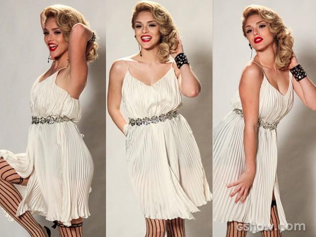 Que arraso!!!! Megan se veste de Marilyn e fica deslumbrante (Foto: Geração Brasil / TV Globo)