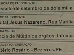 Certidão de óbito de recém-nascida de Bezerros (Foto: Reprodução/TV Asa Branca)