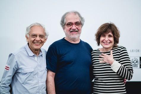Vladimir Carvalho, Geneton Moraes Neto e  Eugenia Moreyra (Foto: Diego Padilha)