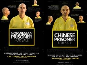 O norueguês Ole Johan Grimsgaard-Ofstad, de 48 anos, e o chinês Fan Jinghui, de 50 anos, reféns postos à venda pelo Estado Islâmico em anúncios na revista 'Dabiq' (Foto: Reprodução/Archive.org)