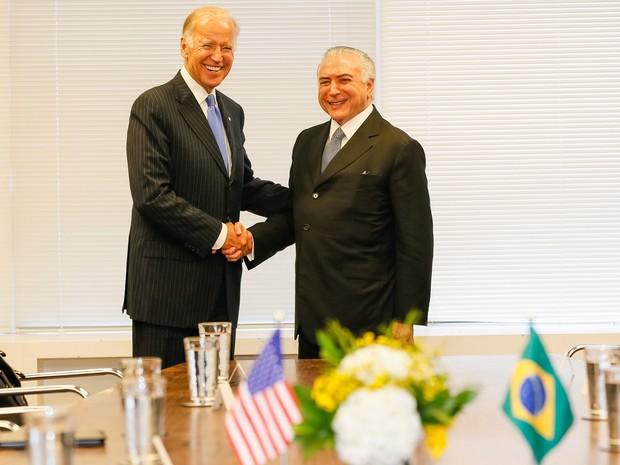 Michel Temer se reúne com o vice-presidente do EUA, Joe Biden, em Nova York (Foto: Beto Barata / PR)
