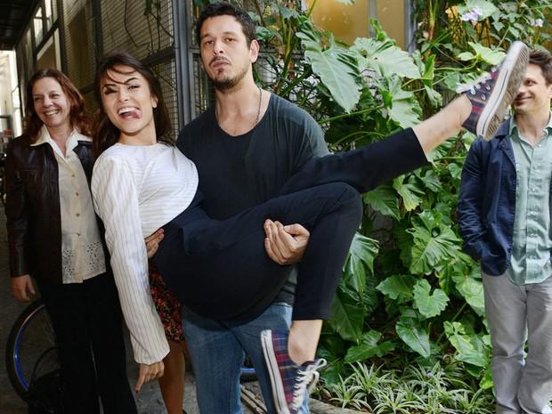 Maria Casadevall e Joo Vicente de Castro durante a coletiva de Lili a Ex (Foto: Eliane Rodrigues)
