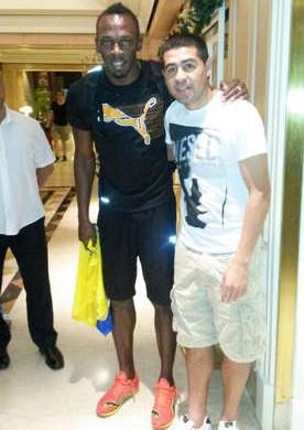 Bolt e Riquelme (Foto: Reprodução/Twitter)