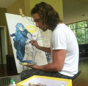 Igor também pinta quadros (Foto: Flor do Caribe/TV Globo)