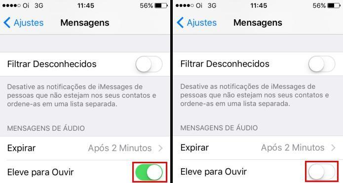 Desativando a opção Elevar para Ouvir no iOS (Foto: Reprodução/Edivaldo Brito)