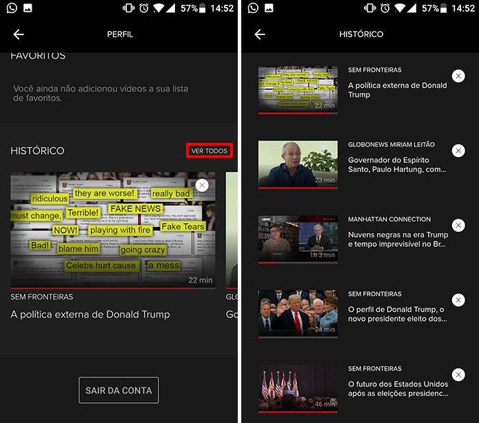 Globosat Play possui histórico completo de programas assistidos no Android e iOS (Foto: Reprodução/Elson de Souza)