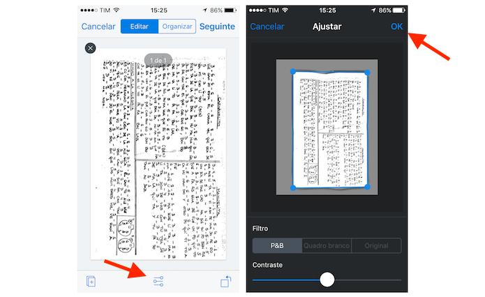 Usando as opções de edição de um documento escaneado através do Dropbox para iPhone (Foto: Reprodução/Marvin Costa)