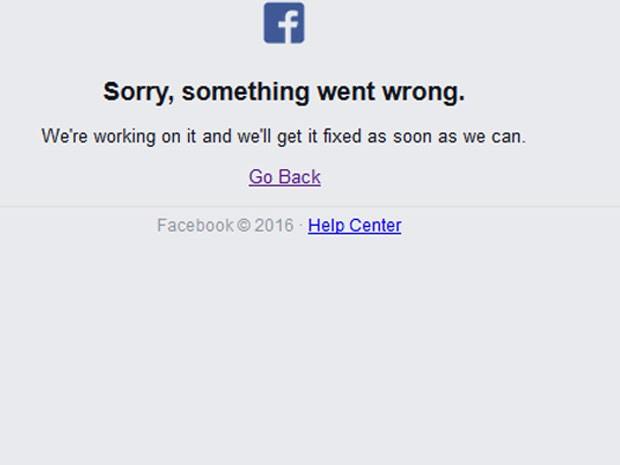Facebook saiu do ar nesta sexta-feira (26) (Foto: Reprodução/Facebook)