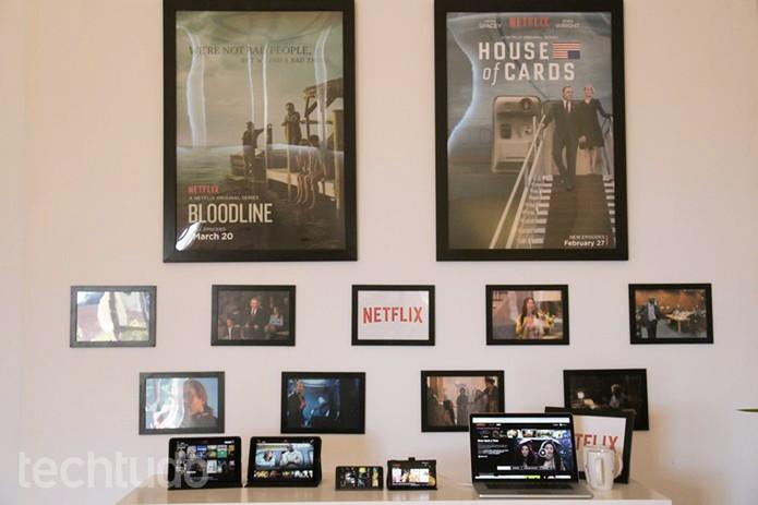 Netflix mostra novo layout no MWC (Foto: Fabrício Vitorino/TechTudo)