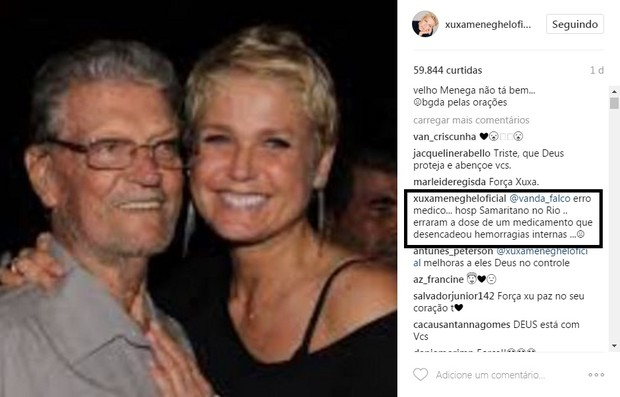 Xuxa fala de saúde do pai em post (Foto: Reprodução/Instagram)
