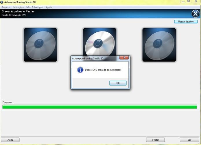 Gravação do DVD DL pelo Ashampoo finalizada com sucesso (Reprodução/Barbara Mannara)