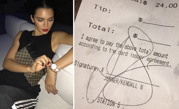 A modelo Kendall Jenner e a conta com a gorjeta não paga pela celebridade (Foto: Instagram)