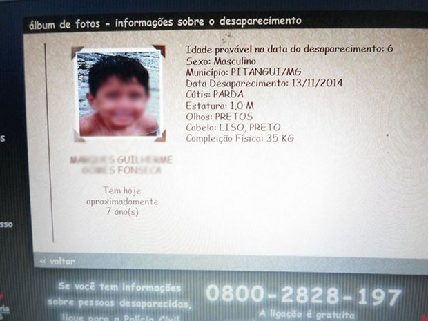 Criança encontrada em Caldas, MG, tinha 6 anos na época em que entrou para o cadastro de desaparecidos de MG; ela morava em Pitangui, MG (Foto: Arquivo de família/Divulgação)