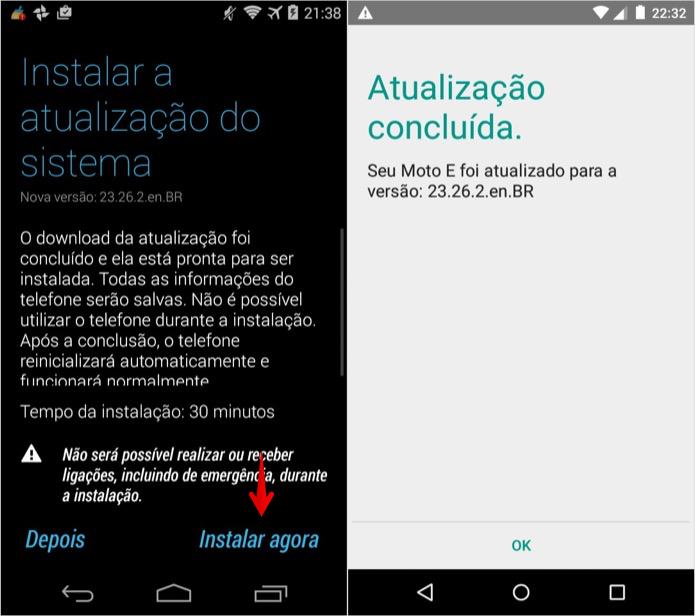 Instalando atualização do Android (Foto: Reprodução/Helito Bijora)