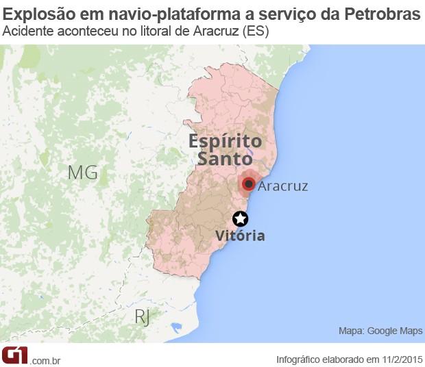 Acidente em plataforma a serviço da Petrobras no ES - VALE ESTE (Foto: Arte/G1)