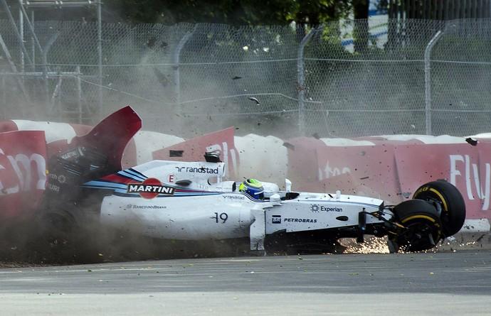 Acidente de Felipe Massa na última volta do GP do Canadá (Foto: AP)