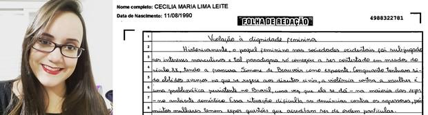 Trecho da redação da estudante Cecília Maria Leite (Foto: Arquivo pessoal/ Reprodução)