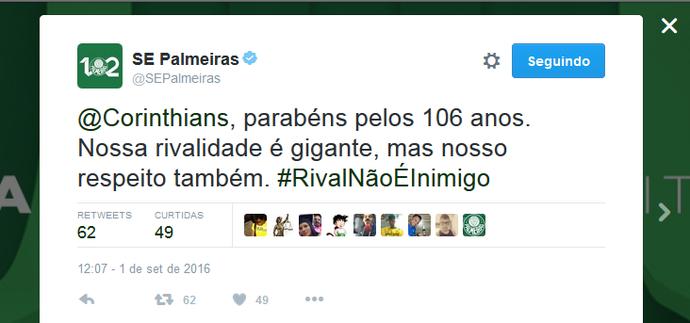 Palmeiras parabeniza o Corinthians no Twitter (Foto: Reprodução)