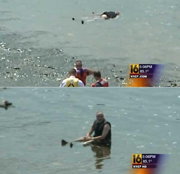Homem dorme deitado em rio e é confundido com vítima de afogamento (Foto: Reprodução)