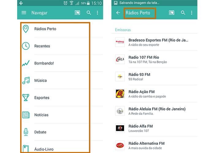 App Tuneln oferece sugestões de rádios na interface principal (Foto: Reprodução/Barbara Mannara)