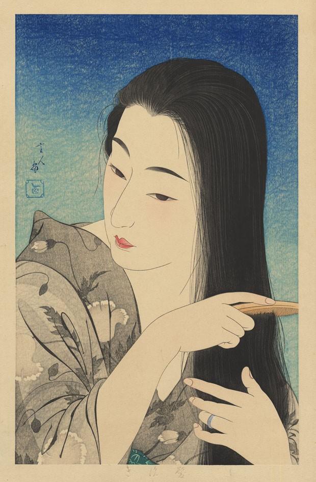 Espaço da Galerie Tanakaya - Kamisuki (Combing the hair), de Torii Kotondo, técnica de impressão considerada perfeita, a obra faz parte de uma série exclusiva e rara publicada na Era 8 (1933) (Foto: Divulgação)
