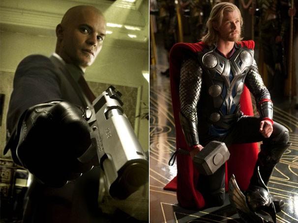 Timothy Olyphant interpretou 'Hitman - Assassino 47' ; Chris Hemsworth é 'Thor', o deus do trovão (Foto: divulgação)