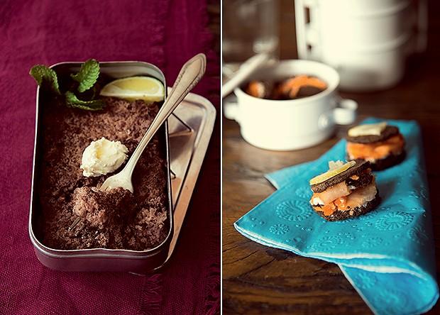 Pão preto, salmão defumado, cream cheese e chantilly  com ervas rendem um lanche delicioso e saudável.  Marmitinhas brancas Empório Carol Martini (Foto: Cacá Bratke)