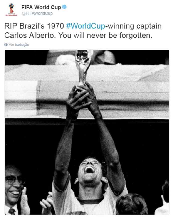 Carlos Alberto Torres Capita Fifa (Foto: Reprodução/Twitter)