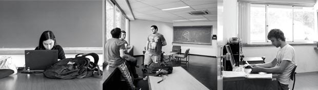 No instituto, o clima é de descontração. Jovens de diversas nacionalidades enfrentam os teoremas com chinelos e bermudas  (Foto: Eduardo Zappia)